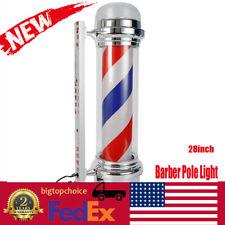 28inch Barber Pole Light Led Red White Blue Stripes Rotating Metal Hair Salon Us