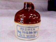 RARE RED WING Pottery Stoneware Miniature Jug Advertising REDMEN CONVENTION 1927