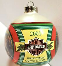 Harley Davidson 2001 Limited Edition Christmas Ornament Glass Ball Series Three