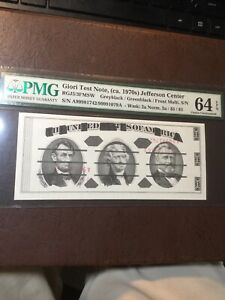 Giori Test Note Jefferson Center Double Serial #'S PMG 64 Choice Uncirculated!