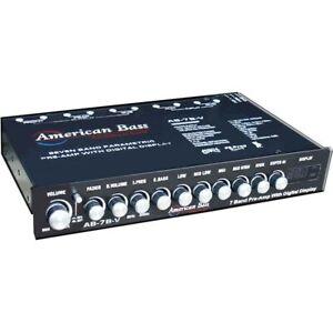 AMERICAN BASS AB-7B-V 7-BAND PRE-AMP CAR AUDIO EQUALIZER EQ W/ DIGITAL DISPLAY