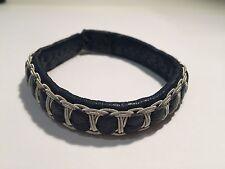 New - SAAMI CRAFTS Pulsera Piel AZUL & Plata -  BLUE Leather & Silver Bracelet
