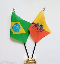 Brazil & Bhutan Double Friendship Table Flag Set