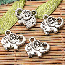 10pcs dark silver color 2sided flowers  elephant  design charms  EF2683