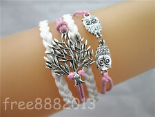 Mix Life Tree/Double Owls Charms Leather Rope Wrap European Friendship Bracelet