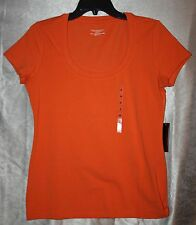 Womens Size L Solid Cap Sleeve Fitted Knit Top Round Neck Line Orange NEW NWT