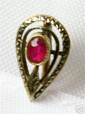 1/4 Ct Ruby Stickpin Edwardian Antique 14K White Gold