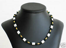 MOP, Black Onyx & Green Glass Bead Necklace