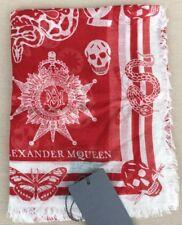 Alexander McQueen rouge crâne insignes Soie écharpe-neuf avec étiquettes-RRP £ 150!!!