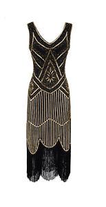 20er Jahre Charleston Pailletten Kleid Schwarz/Gold Flapper Damen 20's Fransen