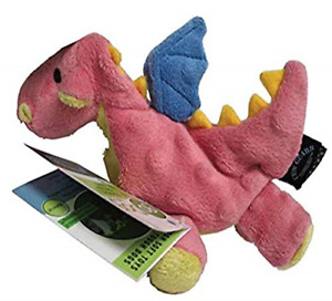 goDog Dragon With Chew Guard Technology Tough Plush Dog Toy, Coral, Small