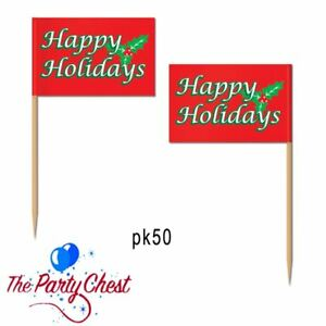 50 HAPPY HOLIDAY CHRISTMAS FOOD PICKS Festive Xmas Office Party Food Picks 20126