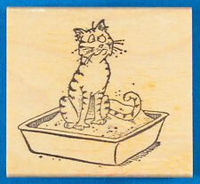 Cat in Litterbox Rubber Stamp by Stamp Pad Co. - Funny - Cat Box, Litter Pan