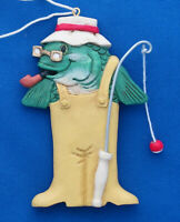 """Midwest of Cannon Falls Christmas ornament 3¼"""" fisherman fish"""