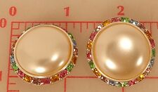 2 large Czech metal silver buttons glass pearl multicolor rhinestone 30mm 1208