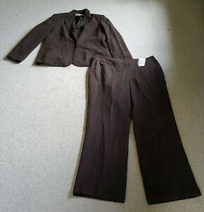 NWT Womens Pant Suit-JONES NEW YORK-brown silk/linen blend lined long sleeve-16