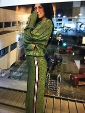 H&M TREND SHINNY WIDE GLITTERY TROUSERS GREEN PANTS EUR 36 US 6 UK 10 KARDASHIAN
