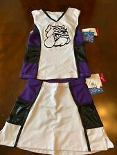 Motionwear Cheer uniform Ma bulldog motif Purple black and white