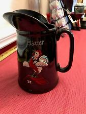 """Vintage Redware Glazed Batter Syrup Pitcher Rooster Cock on Red Roof 7"""" Tall"""