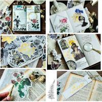 Vintage 60pcs Phone Decor Label Diary Paper Sticker Scrapbooking Plants Stickers