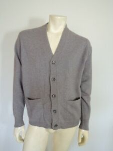 Vintage DUNHILL Alan Paine 100% Pure Cashmere Grey Cardigan Sweater Size 44