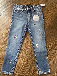 NWT Gap kids girl embroidered flower high rise jeans denim pants skinnest 5 7 12