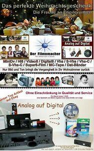 Überspielen digitalisieren von VHS VHS-C Hi8 Video8 Digital8 MiniDV auf DVD