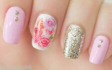 Nail Art Stickers Nail Water Decals Nail Transfers Pink Flowers Roses Gel Polish
