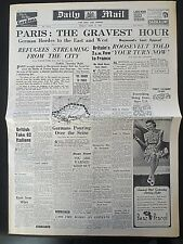 WW2 Newspaper June 14 1940 Paris Gravest Hour Evacuees Daily Mail Wartime Photos