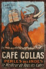 Cafe Collas Coffee Advert with Elephant Retro metal wall sign plaque, cafe, bar