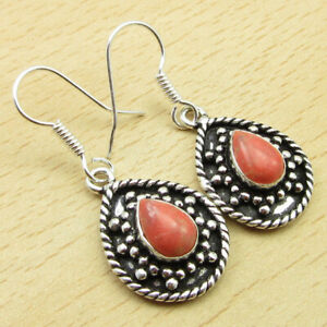 First Anniversary Jewelry Orange Copper Turquoise Earrings 925 Silver Plated