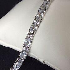 "GB White sim diamond 7.25"" tennis bracelet silver (white gold gf) BOXED Plum UK"