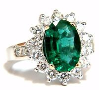 4.02ct Natural oval Emerald diamond cocktail halo ring 18kt G/Vs +