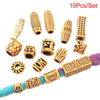 10Pcs/Set Imitation Wood Bead Hair Braid Dreadlock Loose Beads Hair Ring Jew Fy