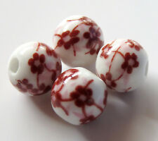 30pcs 10mm Round Porcelain/Ceramic Beads - White / Russet #2 Oriental Flowers