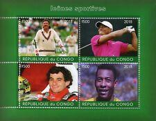 Congo 2018 CTO Ayrton Senna Pele Ian Botham 4v M/S Cricket Golf Football Stamps