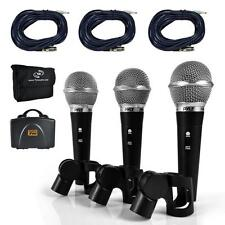 NEW Pyle PDMICKT34 Dynamic Microphone Kit  (3) Professional Handheld Mics