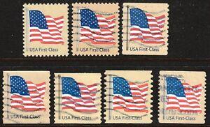 Scott #4129-35 Used Set of 7, American Flag 2007 Non-Denominated