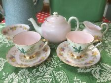 Mismatched Pink Tea/Coffee Set 4 2 Teapot Vintage New Chelsea Tuscan Queen Anne