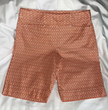 Talbots Petites Stretch Size 8 P Bermuda Shorts Casual Orange & White Design