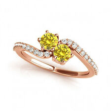 1.24 Carat Yellow Vs2-Si1 Diamond Solitaire Engagement Ring 14k Rose Gold