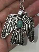 Native American Cherokee Phoenix Bird Silver Pendant Charm D-1074