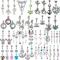 Dangly Crystal Gem Belly Button Bars Surgical Steel Navel Rings Body Jewellery