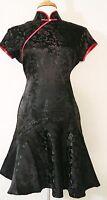 Short Sleeve Modern Adapted Chinese Cheongsam Qipao Dress Black in Floral Print