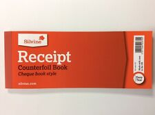 Silvine Counterfoil Receipt Book Cheque Book Style Easy Tear 40 Pages Per book.