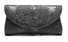 S&Y Matte Black Leather Clutch Purse Embrossed Crossbody Bag Party Shoulder Bag