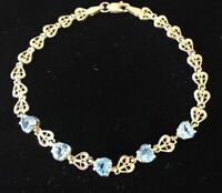 8 Ct Heart Shape Blue Topaz Women's Tennis Bracelet 14k Yellow Gold Finish
