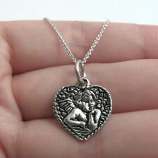 925 Sterling Silver Baby Angel Cherub Heart Charm with Necklace
