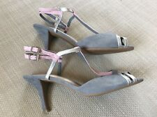 M&S collection grey/pink faux suede summer strappy shoes size 6
