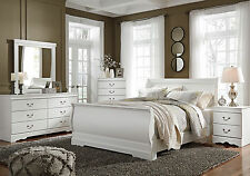 STANFORD - 5pcs Traditional White Sleigh King Size Bedroom Set Furniture NEW
